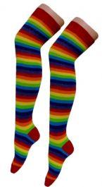 Crazy Chick Rainbow Stripe OTK Socks (12 Pairs)