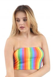 Crazy Chick Rainbow Stripe Boob Tube