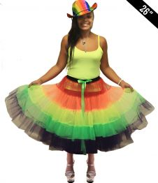 Crazy Chick 5 Tier Petticoat Rainbow TuTu Skirt (Approximately 26 Inches Long)