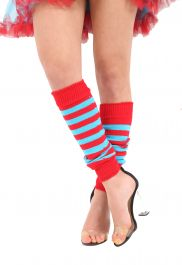 Crazy Chick Red & Turquoise Stripe Leg Warmer