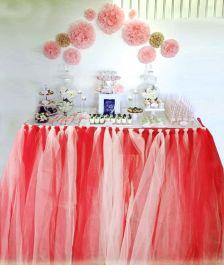 WickedFun Red White Table TuTu Skirt