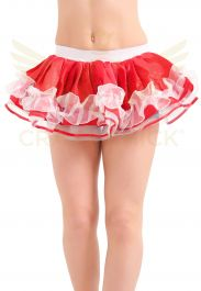 Crazy Chick Red & White Satin Ruffle TUTU Skirt