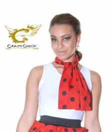 Crazy Chick Red Black Polka Dot Scarf