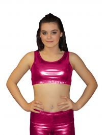 Crazy Chick Shiny Metallic Pink Crop Top