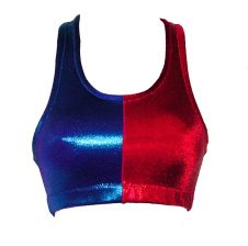 Crazy Chick Shiny Metallic Red Blue Crop Top