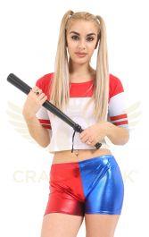 Crazy Chick Shiny Metallic Red Blue Hot Pants