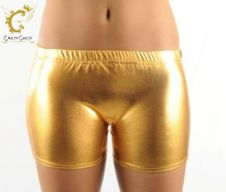 Crazy Chick Shiny Metallic Hot Pants Gold