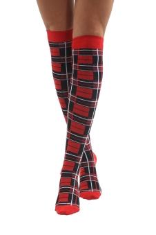 Crazy Chick Tartan OTK Socks (12 Pairs)