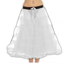 Crazy Chick 5 Tier Petticoat with Ribbon White TuTu Skirt (Approximately 30 Inches Long)