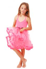 Crazy Chick Girls 2 Layers Pink Petticoat TuTu Skirt (18 Inches Long)