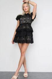 Crochet Layered Mini Dress Black