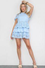 Crochet Layered Mini Dress Blue