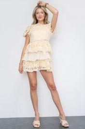 Crochet Layered Mini Dress Cream