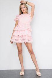 Crochet Layered Mini Dress Pink