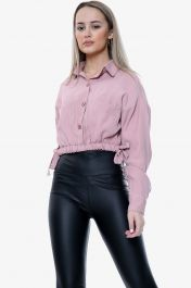 Cropped Side Tie Waist Top Pink