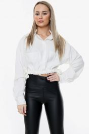 Cropped Side Tie Waist Top White