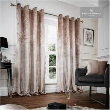 CRUSHED VELVET CURTAIN 66X72 CHAMPAGNE