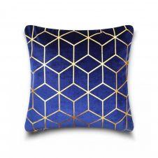 CUSHION COVER METALLIC CUBE 43x43 BLUE-GOLD