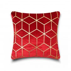 CUSHION COVER METALLIC CUBE 43x43 RED-GOLD