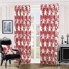 DAMASK EMBOSSED CURTAINS RED