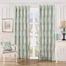 DAMASK EMBOSSED CURTAINS TEAL
