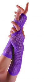 Purple Long Fishnet Gloves (Dozen)