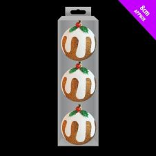 Davies Products Glitter Baubles - 3 x 8cm Xmas Pudding