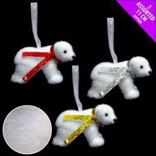 Davies Products Hanging Flocked Polar Bear