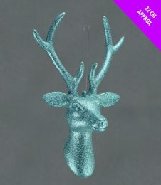 Davies Products Hanging Stags Head - Ice Blue