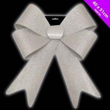 Davies Products Jumbo Glitter Bow - 40 x 51 Silver
