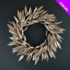 Davies Products Leaves Wreath - 45cm Champagne