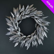 Davies Products Leaves Wreath - 45cm Silver