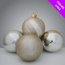 Davies Products Luxury Baubles - 4 x 15cm Champagne
