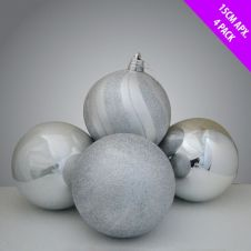 Davies Products Luxury Baubles - 4 x 15cm Silver