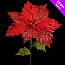 Davies Products Luxury Poinsettia Pick - 45cm Red