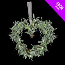 Davies Products Mistletoe Heart Wreath - 43cm