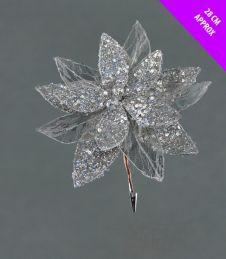 Davies Products Sequin Net Clip Flower - 28cm Silver