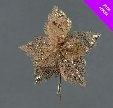 Davies Products Sequin Net Clip Flower - 30cm Champagne