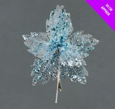 Davies Products Sequin Net Clip Flower - 30cm Ice