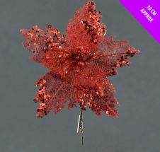 Davies Products Sequin Net Clip Flower - 30cm Red