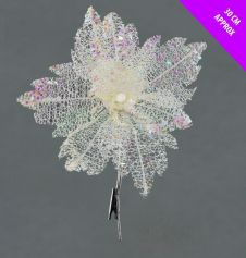 Davies Products Sequin Net Clip Flower - 30cm White