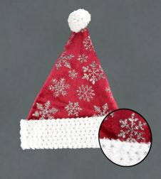 Davies Products Snowflake Velvet Hat - Red