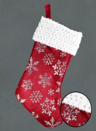 Davies Products Snowflake Velvet Stocking - Red