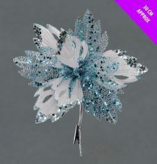 Davies Products Velvet & Glitter Poinsettia Clip - 28cm Ice