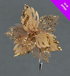 Davies Products Velvet & Glitter Poinsettia Clip - 30cm Champagne
