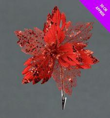 Davies Products Velvet & Glitter Poinsettia Clip - 30cm Red