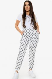 DD Printed Tie Waist Joggers (White)
