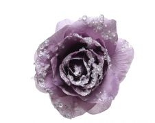 Deco Clip On Rose With Glitter - 14 x 8.5 Cloudy Lila