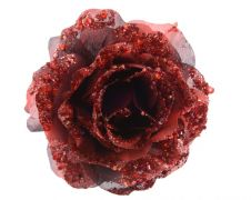 Deco Clip On Rose With Glitter - 14 x 8.5 Oxblood