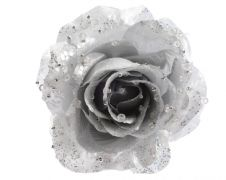 Deco Clip On Rose With Glitter - 14 x 8.5 Silver